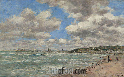 The Shore of Deauville, 1896 | Eugene Boudin | Painting Reproduction