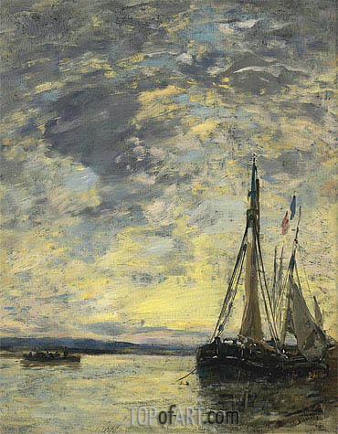Sailing Boats at Quay, c.1885/90 | Eugene Boudin| Painting Reproduction
