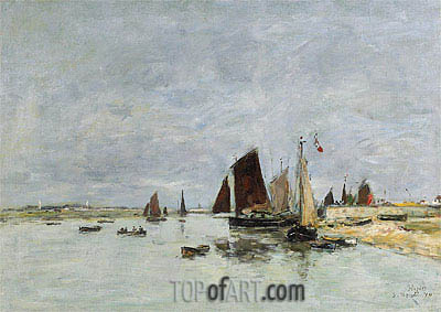 Etaples, Boats in the Harbour, 1876 | Eugene Boudin| Painting Reproduction