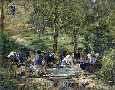 Wash House of the White Horse in Trouville, c.1885/88 | Eugene Boudin| Painting Reproduction