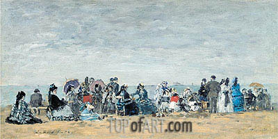 The Beach at Trouville, 1872 | Eugene Boudin | Painting Reproduction