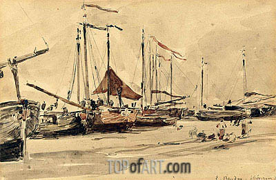 Fishing Boats on the Beach at Scheveningen, 1876 | Eugene Boudin | Painting Reproduction