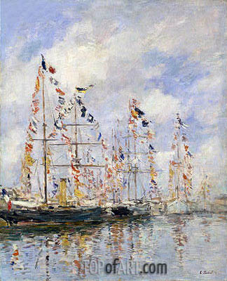 Yacht Basin at Trouville-Deauville, c.1895/96 | Eugene Boudin | Painting Reproduction