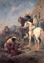 Falcon Hunting in Algeria (The Quarry), 1862 by Eugene Fromentin | Painting Reproduction