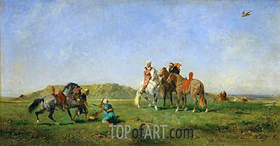 Hunting with Falcons in Algeria, 1862 | Eugene Fromentin | Painting Reproduction