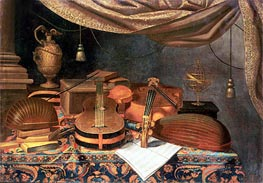 A Guitar, a Cello, Lutes, a Musical Score and Other Books and an Armillary Globe on a Draped Table, undated by Baschenis | Painting Reproduction