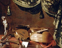 Still Life with Musical Instruments and a Statuette, c.1660 by Baschenis | Painting Reproduction