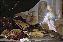 Still Life of Musical Instruments, with a Female Figure, Undated by Baschenis | Painting Reproduction