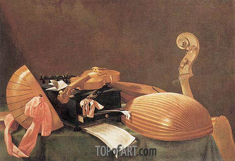 Still-life with Musical Instruments, c.1650 | Baschenis | Painting Reproduction
