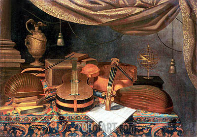 A Guitar, a Cello, Lutes, a Musical Score and Other Books and an Armillary Globe on a Draped Table, undated | Baschenis | Gemälde Reproduktion