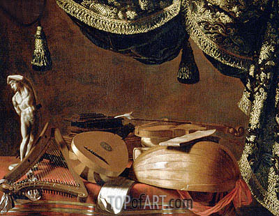 Baschenis | Still Life with Musical Instruments and a Statuette, c.1660