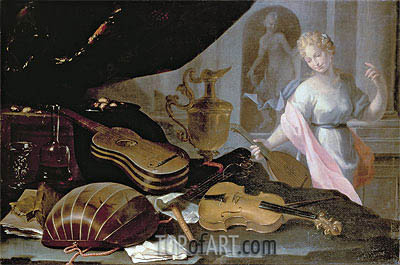 Still Life of Musical Instruments, with a Female Figure, Undated | Baschenis | Painting Reproduction
