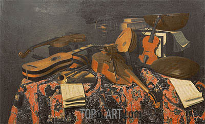 Still Life with Musical Instruments,  | Baschenis| Painting Reproduction