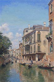 A Busy Day on a Venetian Canal | Federico del Campo | Painting Reproduction