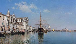 La Chiesa Gesuati from the Canale Della Giudecca, Venice, 1887 by Federico del Campo | Painting Reproduction