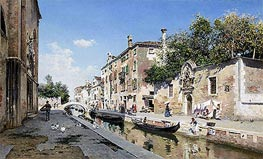 Canale san Giuseppe, Venice, undated by Federico del Campo | Painting Reproduction