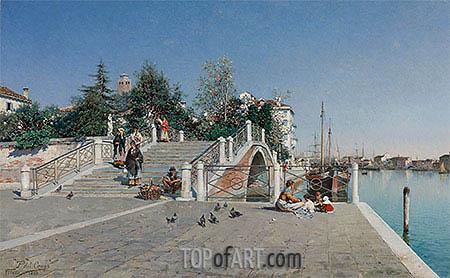Ponte Della Calcina, Dorsoduro, Venice, 1888 | Federico del Campo | Painting Reproduction