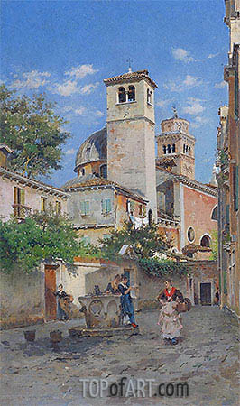 Meeting at the Well, Venice, 1891 | Federico del Campo | Painting Reproduction