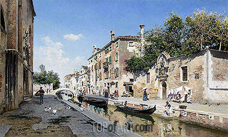 Canale san Giuseppe, Venice, undated | Federico del Campo| Painting Reproduction