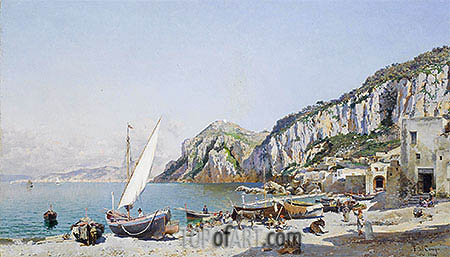 Beach at Capri, 1884 | Federico del Campo| Painting Reproduction