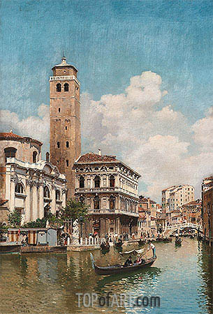 Gondolas on a Venetian Canal, 1905 | Federico del Campo| Painting Reproduction
