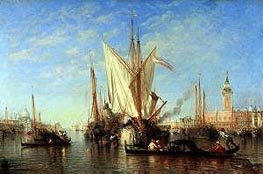 Venice: the Bacino di S.Marco with Fishing Boats, c.1865 by Felix Ziem | Painting Reproduction