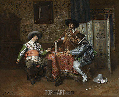 A Game of Cards,  | Ferdinand Victor Leon Roybet | Painting Reproduction