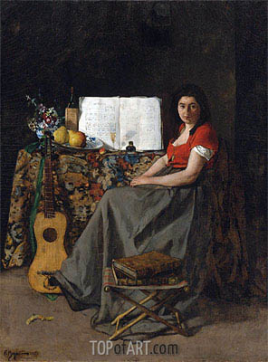 The Guitar Player, 1865 | Ferdinand Victor Leon Roybet | Painting Reproduction