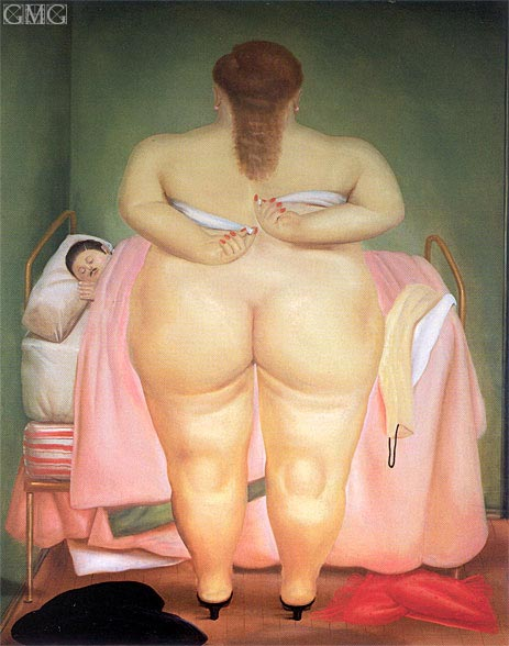 Woman Putting on her Brassiere, 1976 | Botero | Gemälde Reproduktion