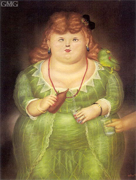 Woman with Parrot, 1973 | Botero | Gemälde Reproduktion
