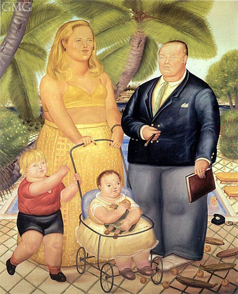 Frank Lloyd and his Family on Paradise Island, 1972 | Botero | Gemälde Reproduktion