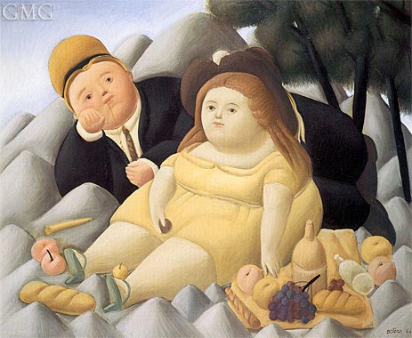 Picnic in the Mountains, 1966 | Botero | Gemälde Reproduktion