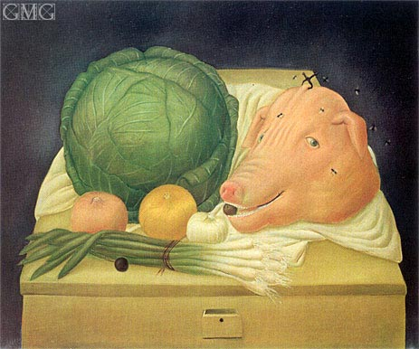 Still Life with Pig's Head, 1968 | Botero | Gemälde Reproduktion