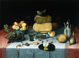 Still Life with Cheeses, c.1615/20 by Floris van Dijck | Painting Reproduction