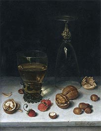 Still Life with Walnuts, Hazelnuts and Strawberries, 1611 by Floris van Dijck | Painting Reproduction