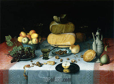Floris van Dijck | Still Life with Cheeses, c.1615/20