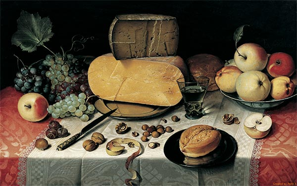 Still Life with Fruit, Nuts and Cheese, 1613 | Floris van Dijck | Painting Reproduction