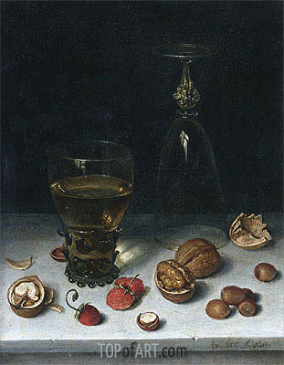 Still Life with Walnuts, Hazelnuts and Strawberries, 1611 | Floris van Dijck | Painting Reproduction