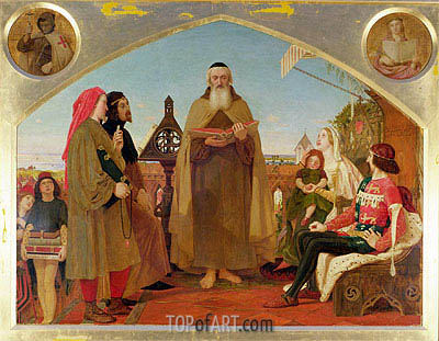 John Wycliffe Reading his Translation of the Bible to John of Gaunt, c.1847/48 | Ford Madox Brown| Painting Reproduction
