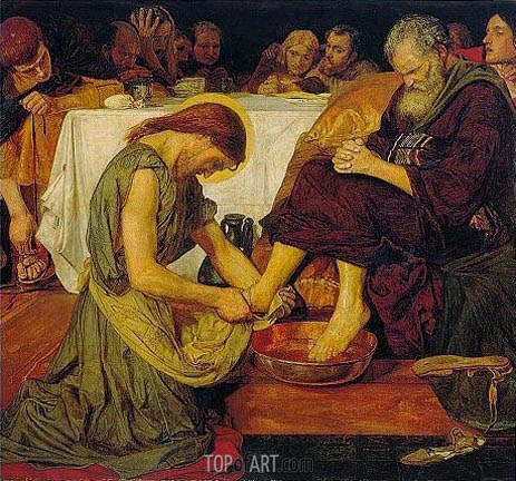 Jesus washing Peter's Feet, c.1852/56 | Ford Madox Brown | Gemälde Reproduktion