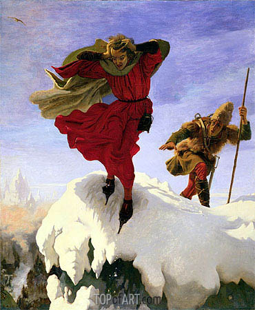 Manfred on the Jungfrau, c.1840/61 | Ford Madox Brown| Gemälde Reproduktion