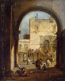 Venetian Capriccio: View of a Square and a Palace | Francesco Guardi | Painting Reproduction