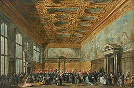 The Doge of Venice Grants an Audience in the Sala del Collegio in the Ducal Palace, c.1775/80 by Francesco Guardi | Painting Reproduction