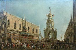 The Doge in the Shrove Tuesday Festival on the Piazzetta, Venice, c.1775/80 by Francesco Guardi | Painting Reproduction