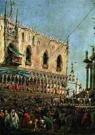 The Doge in the Shrove Tuesday Festival on the Piazzetta, Venice (detail), c.1775/80 by Francesco Guardi | Painting Reproduction