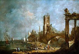 Capriccio of a Harbor, c.1760/70 by Francesco Guardi | Painting Reproduction