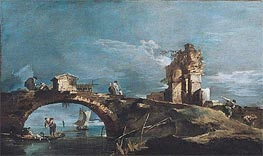Capriccio: Lake, Bridge and Ruins, a.1770 by Francesco Guardi | Painting Reproduction