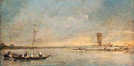 View of the Venetian Lagoon with the Tower of Malghera, c.1770 by Francesco Guardi | Painting Reproduction