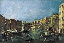 View of the Rialto, Venice from the Grand Canal, c.1780/90 by Francesco Guardi | Painting Reproduction