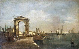 Landscape with a Wharf, Venice, undated by Francesco Guardi   Painting Reproduction